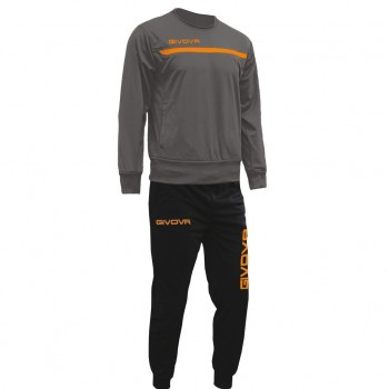 TUTA TRAINING ONE 2328 - Grigio Scuro/Arancio Fluo